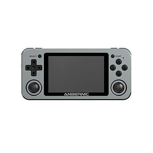 RG351M Consola de juegos de mano, más de 2500 juegos, soporta motores de vibración de 3.5 pulgadas, Consolas de juegos, consola retro, consola de juegos PSP WiFi Dual-Start (gris-128G)