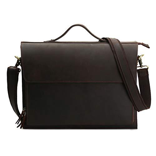 Leathario Herren Echtleder Aktentasche Ledertasche Laptoptasche für Business Vintage (Kaffee)