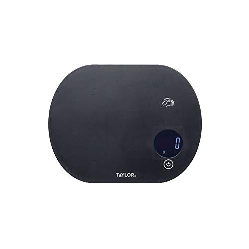 Taylor Pro Balanza Digital de Cocina con Función Táctil de Peso con Tara, Compacta, Nivel Profesional con Alta Precisión, Negro, Gran Capacidad de hasta 5.5 kg