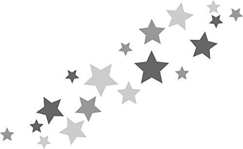 30 Stück selbstklebende Sterne Autoaufkleber, Türaufkleber, Fahrradaufkleber, Wandtattoo tricolore-grau, anthrazit, Fensterdekoration Fensterbild/Fensteraufkleber für In- und Outdoor 62s1