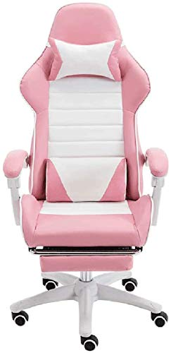 FTFTO Tägliche Ausrüstung Bürostühle Computer-Bürostuhl mit gepolsterter Fußstütze Drehbarer Videospielstuhl Pink