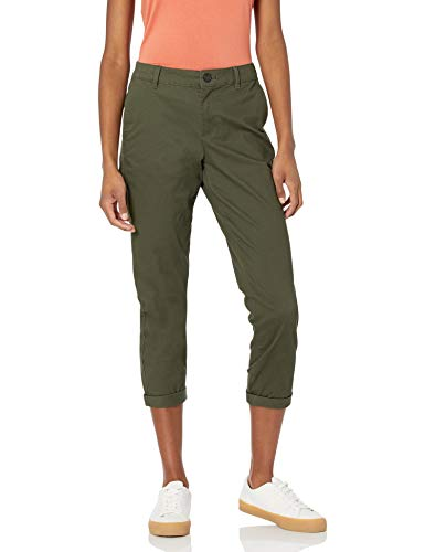Amazon Essentials Cropped Girlfriend Chino Pant Pants, Oliva Oscuro, 46