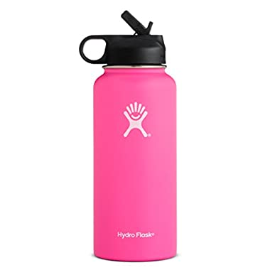 Hydro Flask 32 oz Double Wall Vacuum Insulated Stainless Steel Sports Water Bottle, Wide Mouth with BPA Free Straw Lid, Flamingo