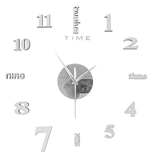 KEHAOX DIY Wanduhr,3D Acryl Spiegel Rahmenlose Wanduhr Modern Design Acryl Wanduhren Geräuschlos Wandaufkleber Dekoration Uhren für Büro Wohnzimmer Schlafzimmer Uhr Quarzuhr (Silber-70×80 cm)