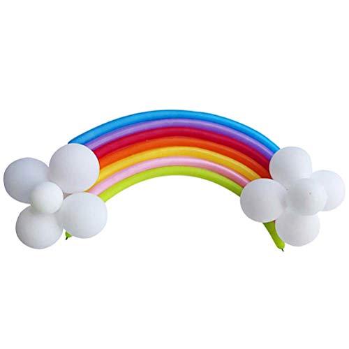 YeahiBaby - Globos de arcoíris para decoración del hogar, Tienda de Compras, 17 Unidades, 7 Globos de Tira de Colores, 10 Unidades de Globos Blancos