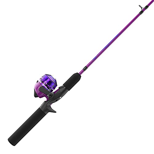 Zebco Kids Splash Jr. Spincast Reel and Fishing Rod Combo, 4-Foot 2-Piece Fishing Pole, Size 20 Reel, Right-Hand Retrieve, Pre-Spooled with 6-Pound Cajun Line, Pink