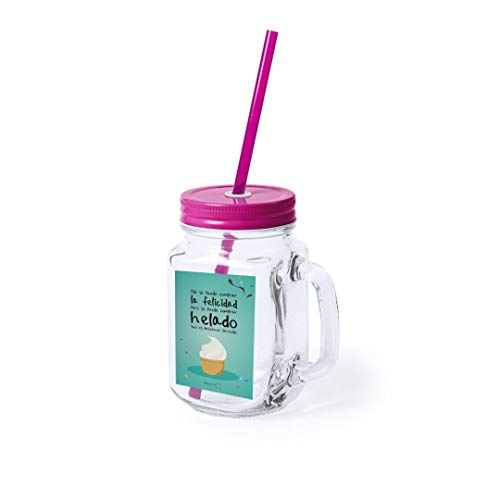 Jarra de cristal con caña Personalizada, jarra con pajita, jarra para batidos o helados, jarra verano, jarra molona, tarro con caña, jarra helado