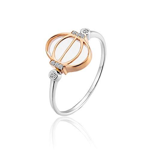Beydodo Trauringe aus Weißgold 750 Laterne mit Diamond Weißgold Ringe Hochzeite Verlobungsring 65 (20.7)