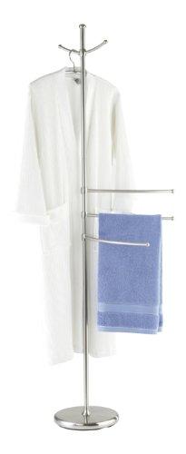 Wenko Adiamo handdoekenrek met 3 in hoogte verstelbare armen - kapstok, 2 ophanghaken, staal, Ø 28 x 170 cm, mat