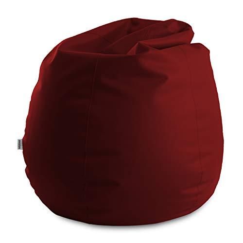 Avalon Pouf Poltrona Sacco Gigante Bag XXL Mamba 100x100x130cm Made in Italy in Tessuto Ecopelle Imbottito Colore Bordeaux