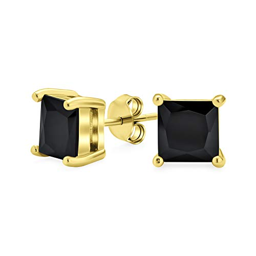 2CT negro cuadrado cúbico Zirconia princesa corte AAA CZ Pendientes para hombres 14K chapado en oro 925 plata de ley 8MM