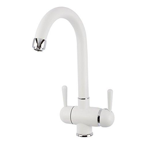 3-vie-rubinetto GM C-erogatore Bianco per legno freddo, calda e di acqua filtrata. Un elegante e still simplink per completare il vostro filtro. Unico nel suo genere e brevettato! Made in Italy!