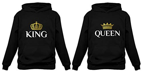 TeeStars King & Queen Matching Couple Hoodie Set Valentine's Day Gift His & Hers Women Hoodie Women Medium/Men Large,Black