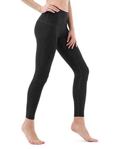 TSLA High Waist Yoga Pants with Pockets, Tummy Control Yoga Leggings, Non See-Through 4 Way Stretch Workout Running Tights, Zen Yoga(fyp52) - Black, Medium