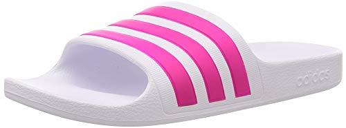 Adidas Unisex Erwachsene Adilette Aqua Dusch-& Badeschuhe, Weiß (Footwear White/Real Magenta/Footwear White), 37 EU