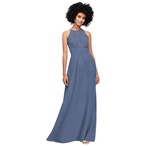 David's Bridal High-Neck Chiffon Bridesmaid Dress with Keyhole Style F19953, Steel Blue, 8