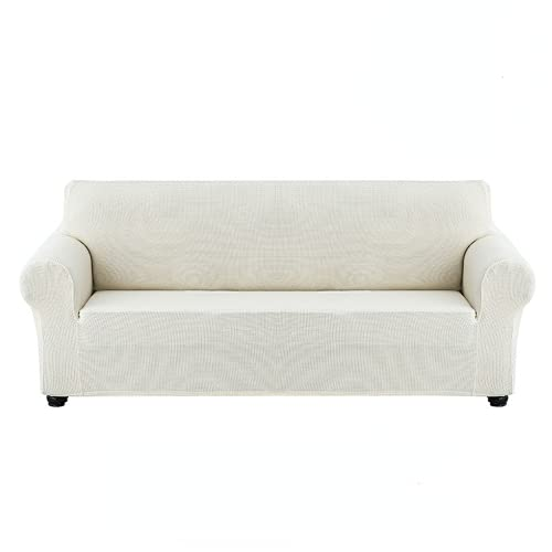 Easy Going - Funda elástica de microfibra para sofá (2 plazas, 145-185 cm), color blanco