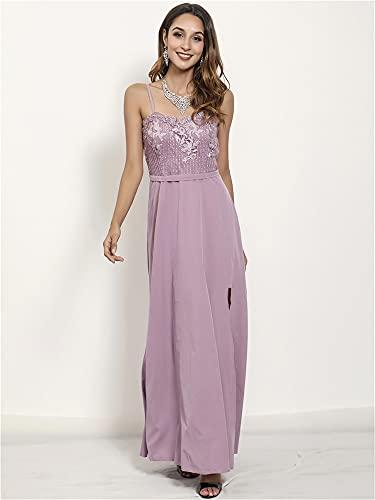 EDMONG Vestidos Maxi de Mujer Sexy Suelto Suelto Vestidos Largos Vestidos Largos Vestidos divididos (Color : Purple, Size : M)
