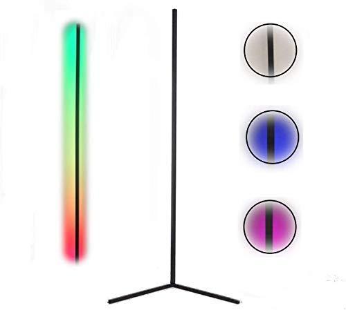 Lampara de Pie LED RGB Regulable con Control Remoto Táctil, Luz Blanca, Estilo Moderno, Bajo Consumo, Lámpara de Suelo. (Negro)