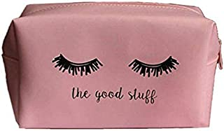 Small Makeup Bag lashes Pouch Waterproof Zipper Cosmetic Toiletry Bag for Women/Girls pink