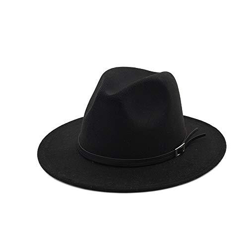 Xuguiping Wol Fedora hoed voor volwassenen gentleman elegante dames winter herfst brede rand Jazz Church Panama Sombrero Cap 56-58 zwart