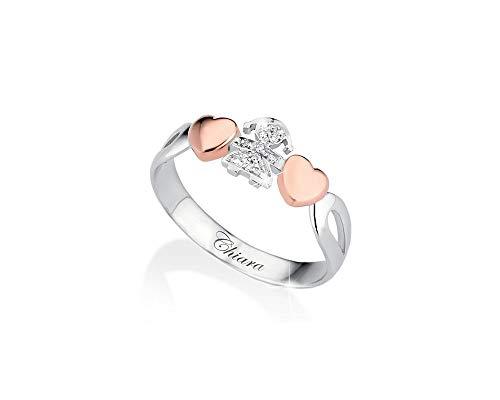 Anello Le Bebè - I Girocuore - bimba in oro bianco e diamanti e cuori in oro rosa