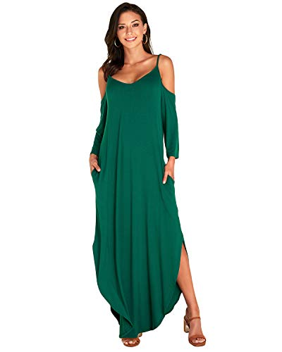 VONDA Vestidos para Mujer Casual Hombro frío Manga Larga Side Split Kaftans Vestidos Retro A-Verde XX-Large