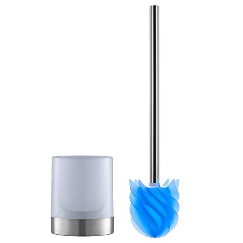 LOOMAID Silikon-WC-Bürste inkl. Bürstenhalter milchig | schmutzabweisender Reinigungskopf mit flexiblen Lamellen [Edelstahl/blau]