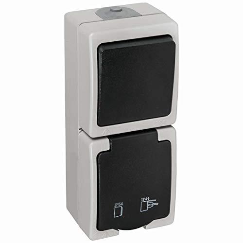 Feuchtraum-Aufputz-Schalter- /Steckdosenkombination senkrecht IP54 16A