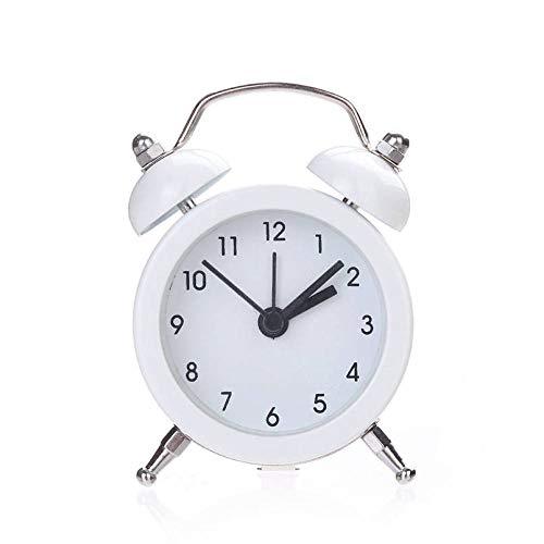 2018 Neue Fashoin Clock Twin Bell Silent Legierung Edelstahl Wecker Super Lauter Alarm Sound für Heavy Sleeper # N27-Weiß