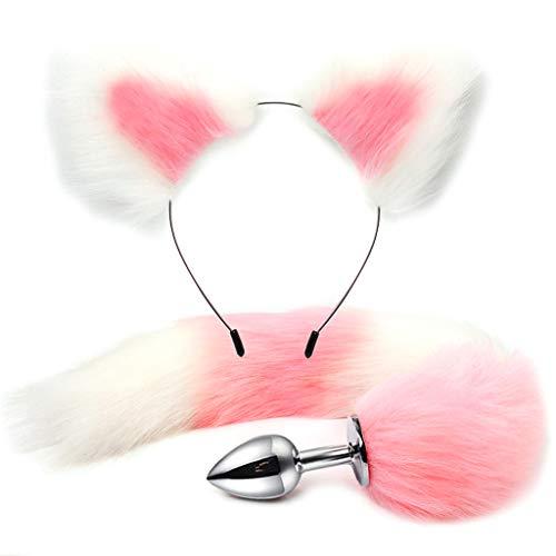 Fugift 2Pcs Erǒtíc Set Bǔtt Plǔg Täíl Cat Ears Hair Hoop Flírt Fetish Cósplǎy Party S-M Ǎd-ult Game Ṡěx Tǒy for Cọuples Sѐxspíѐlzeüg