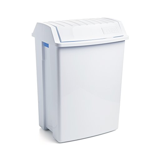Tatay Papelera con Tapa basculante 49 litros de Capacidad, Blanco, 40 x 33,5 x 57,5 cm