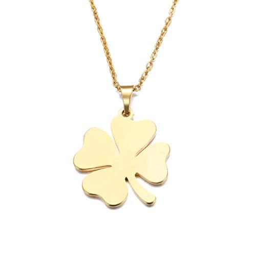 Collar de Acero Inoxidable para Mujer, Hombre, trébol de Amante, Colgante de Color Dorado y Plateado, Collar, joyería de Compromiso