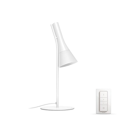 Philips Hue Explore - Lámpara de mesa blanca con mando, luz regulable de blanca cálida a blanca fría, Iluminación inteligente, compatible con Amazon Alexa, Apple HomeKit y Google Assistant