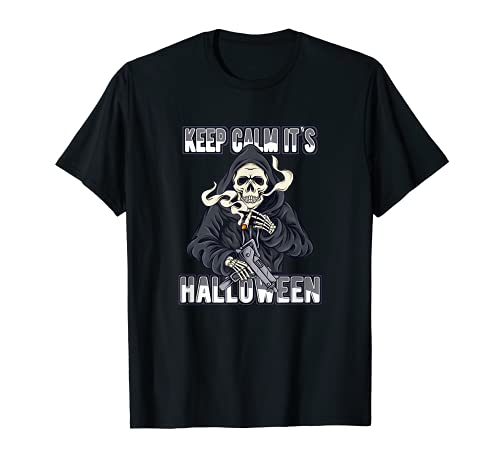 Disfraz de Zombie de calavera de Halloween Keep Calm Camiseta