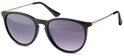 styleBREAKER Sonnenbrille mit großen ovalen Gläsern und Metall Bügel, Damen 09020085, Farbe:Gestell Schwarz/Glas Grau Verlauf