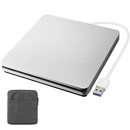 Douper Externes CD DVD Laufwerk mit Tragetasche, Automatisch Pop-in Extern DVD Brenner Optischer DVD-RW Row Player Rewriter für Laptop, Desktop (USB 3.0)