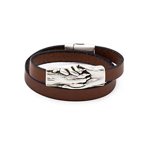 Flat Leather Wrap Bracelet with Silver Hand and Dog Paw Charm - Black, Large | Magnetic Clasp | Ideal for Pet Lovers and Pet Memorials