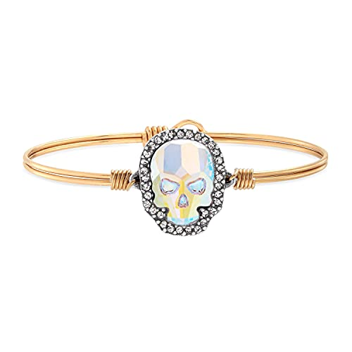 Luca + Danni   Crystal Pave Skull Bangle Bracelet in Aurora Borealis For Women - Brass Tone Petite Size Made in USA
