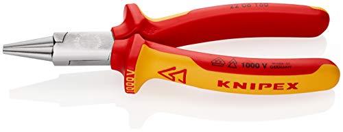 KNIPEX 22 06 160 Rundzange verchromt isoliert mit Mehrkomponenten-Hüllen, VDE-geprüft 160 mm