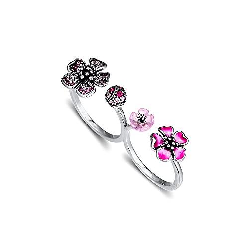 Gflyme 2021 verano flor melocotón flores anillos dobles para mujer plata 925 DIY se adapta a pulseras originales Pandora encanto joyería de moda (52 #)