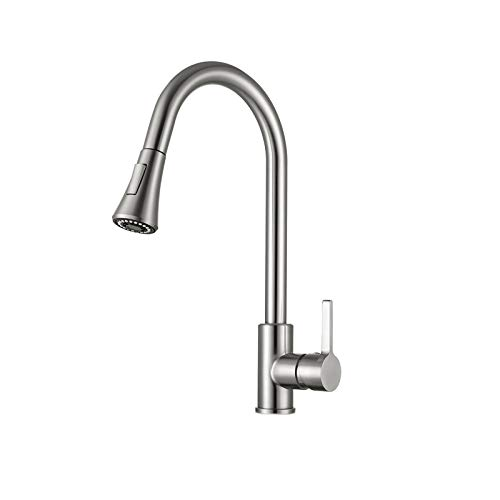 Kitchen Faucet with Pull Down Sprayer Brushed Nickel, High Arc Single Handle Kitchen Sink Faucet Without Deck Plate, Commercial Modern Stainless Steel Kitchen Sink Faucet (Brushed nickle1)