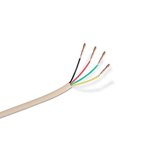 AISENS A143-0321 - Bobina de cable de teléfono 4C de 100 m, Color Beige