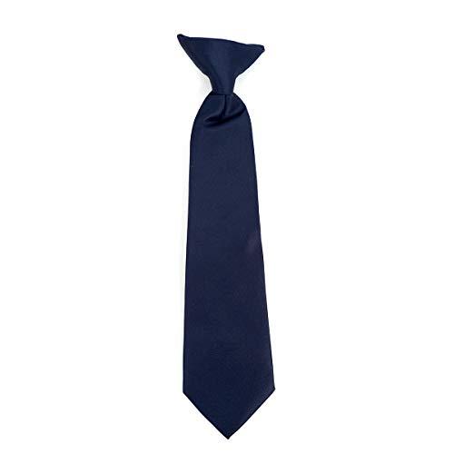 Boy's Solid Clip on Tie (11 inch, Navy)