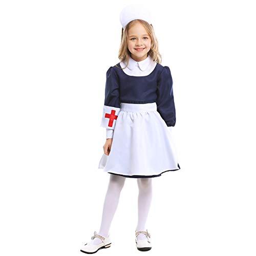 NIMIFOOL Disfraces para niños Material de poliéster Vestido de Disfraz de Enfermera de sirvienta de niña para Familia de Padres e Hijos Adecuado para la Fiesta Escolar de Halloween Cosplay,M