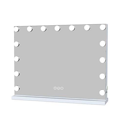 Large Vanity Makeup Mirror with Lights, Hollywood Lighted Vanity Mirror with Touch Screen Dimmer, Tabletop Mirror with USB Charging Port, 3 Color Lighting Modes, White (H17.3 X L22.8 Inch)with 15 pcs
