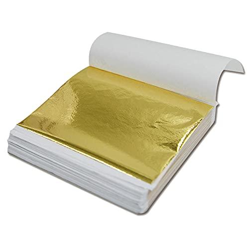 100 Blatt Goldfolienpapier, Blattgold, Metallic-Goldfolie, Vergoldung, Basteln, für Kunsthandwerk, DIY-Naekoration, Rahmen, Malerei, Kunst, Möbel, 6 Farben (14 x 14 cm)