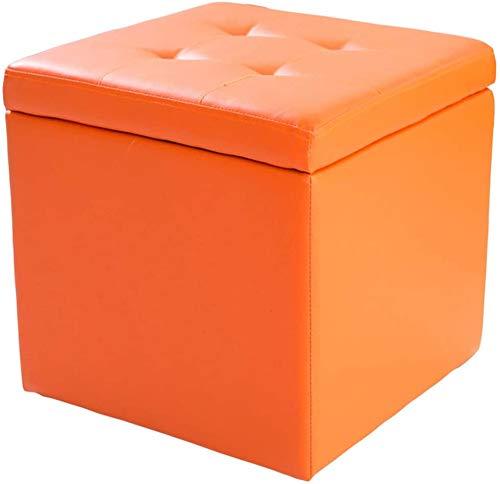 ZCM Taburete para Pies Cube Imitación Cuero Otomano Almacenamiento Puf Asiento De Banco, Caja De Juguetes con Bisagra Caja Organizadora Superior Puf Cofre(Color:Naranja,Size:40x40x40cm(16x16x16))