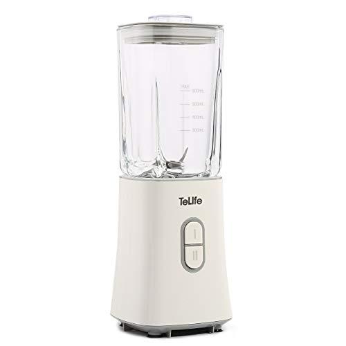 TeLife ミキサー スムージー ミキサー 300W ハイパワー ジューサー ミキサー スムージー 氷も砕ける ジューサー ミキサー ガラス製容器 ホワイト