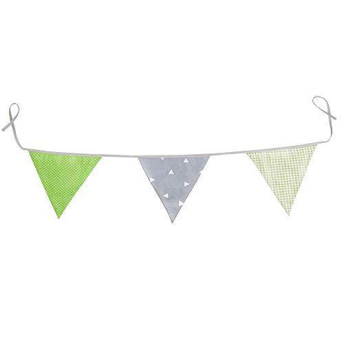 Wimpelkette Stoff-Girlande von Homery, farbenfrohe Dekoration für Kinderzimmer - wählbar in 3 verschiedenen Längen und modernen Farben (130cm, Grün/Grau)